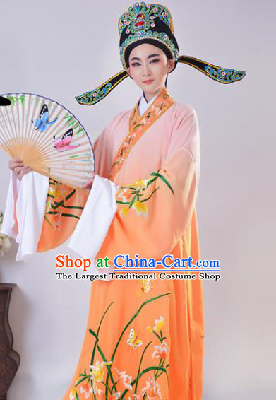 Chinese Traditional Peking Opera Gifted Scholar Embroidered Orchid Orange Robe Beijing Opera Niche Costume for Men