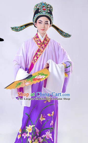 Chinese Traditional Peking Opera Gifted Scholar Embroidered Orchid Purple Robe Beijing Opera Niche Costume for Men