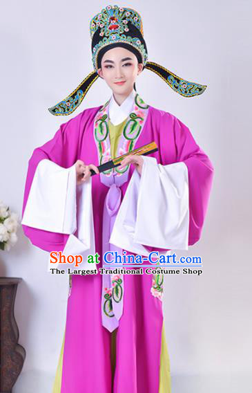 Chinese Traditional Peking Opera Gifted Scholar Embroidered Purple Robe Beijing Opera Niche Costume for Men