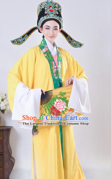Chinese Traditional Peking Opera Gifted Scholar Embroidered Yellow Robe Beijing Opera Niche Costume for Men