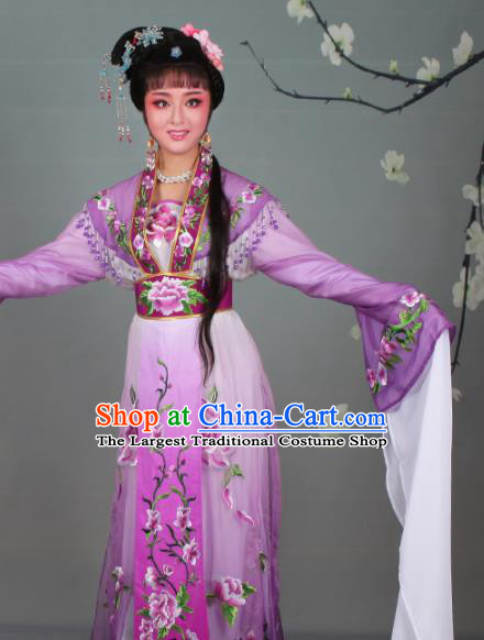 Chinese Traditional Shaoxing Opera Hua Dan Embroidered Purple Dress Beijing Opera Nobility Lady Costume for Women