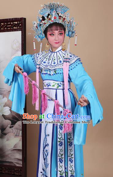 Chinese Traditional Shaoxing Opera Princess Blue Dress Beijing Opera Hua Dan Embroidered Costume for Women