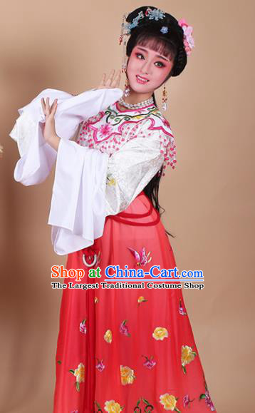 Chinese Traditional Shaoxing Opera Zhu Yingtai Red Dress Beijing Opera Hua Dan Embroidered Costume for Women