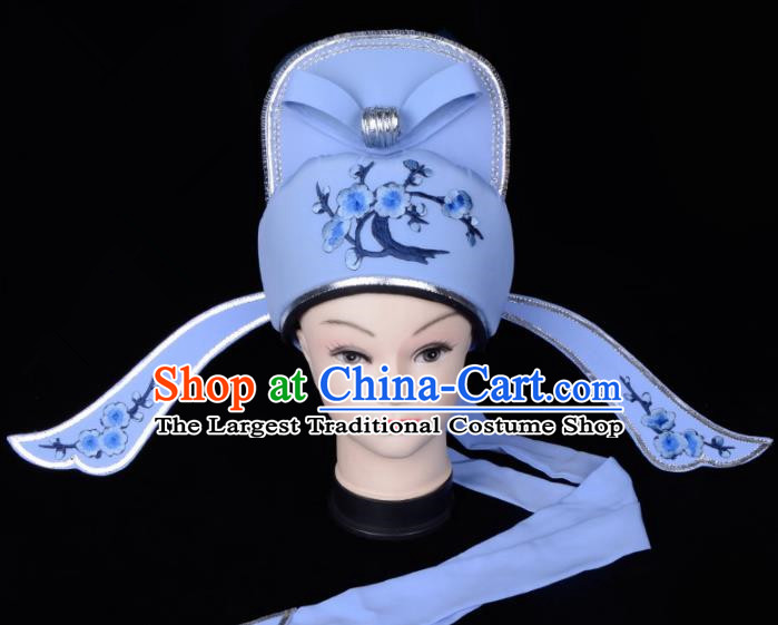 Chinese Traditional Beijing Opera Gifted Scholar Headwear Peking Opera Niche Blue Hat for Men