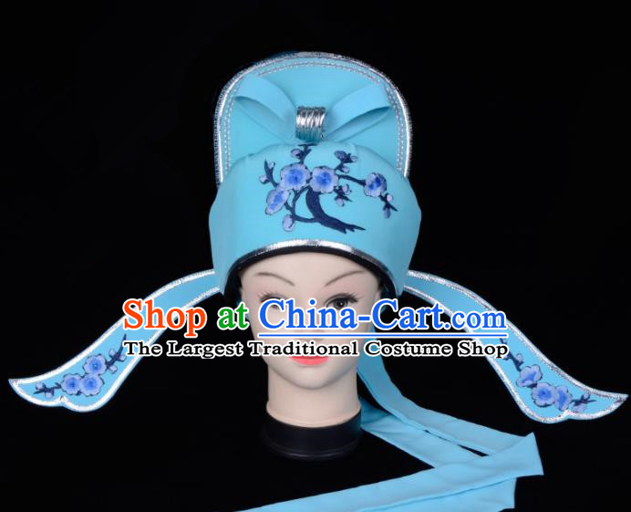 Chinese Traditional Beijing Opera Gifted Scholar Headwear Peking Opera Niche Green Hat for Men
