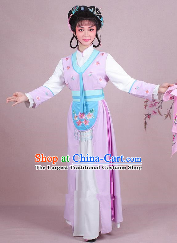 Chinese Traditional Shaoxing Opera Maidservants Embroidered Violet Dress Beijing Opera Young Lady Costume for Women
