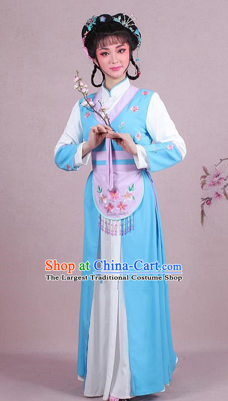 Chinese Traditional Shaoxing Opera Maidservants Embroidered Blue Dress Beijing Opera Young Lady Costume for Women