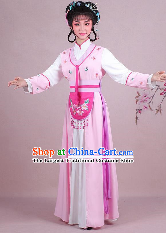 Chinese Traditional Shaoxing Opera Maidservants Embroidered Pink Dress Beijing Opera Young Lady Costume for Women