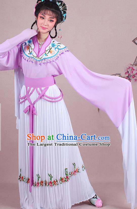 Chinese Traditional Shaoxing Opera Young Lady Embroidered Purple Dress Beijing Opera Maidservants Costume for Women