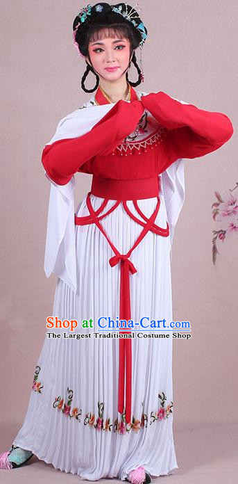 Chinese Traditional Shaoxing Opera Young Lady Embroidered Red Dress Beijing Opera Maidservants Costume for Women