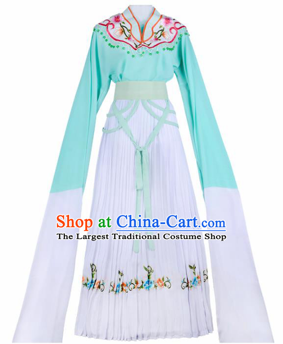 Chinese Traditional Shaoxing Opera Young Lady Embroidered Green Dress Beijing Opera Maidservants Costume for Women