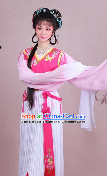 Chinese Traditional Shaoxing Opera Servant Girl Embroidered Rosy Dress Beijing Opera Maidservants Costume for Women