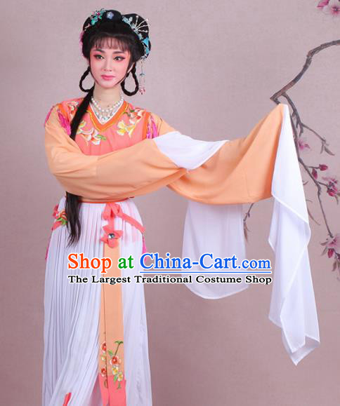 Chinese Traditional Shaoxing Opera Servant Girl Embroidered Orange Dress Beijing Opera Maidservants Costume for Women