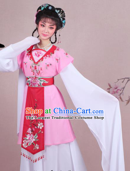 Chinese Traditional Shaoxing Opera Court Maid Embroidered Pink Dress Beijing Opera Maidservants Costume for Women