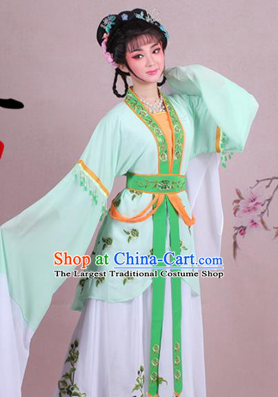 Chinese Traditional Shaoxing Opera Court Maid Embroidered Green Dress Beijing Opera Maidservants Costume for Women