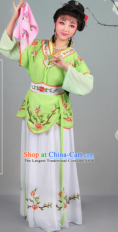 Chinese Traditional Shaoxing Opera Hua Dan Embroidered Green Dress Beijing Opera Village Girl Costume for Women