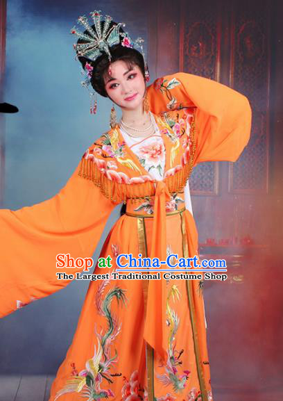 Chinese Traditional Shaoxing Opera Princess Peri Embroidered Orange Dress Beijing Opera Hua Dan Costume for Women