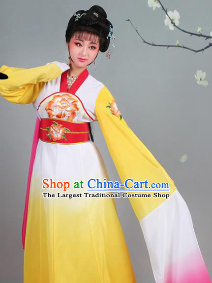 Chinese Traditional Shaoxing Opera Palace Lady Embroidered Yellow Dress Beijing Opera Court Maid Costume for Women