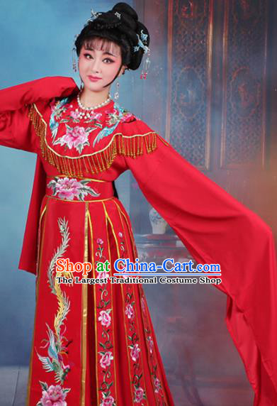 Chinese Traditional Shaoxing Opera Court Princess Embroidered Red Dress Beijing Opera Hua Dan Costume for Women