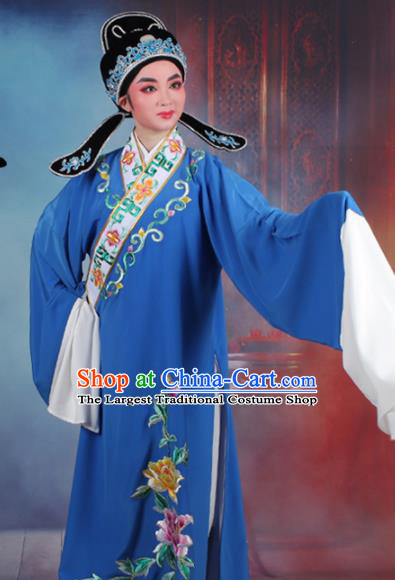 Chinese Traditional Peking Opera Niche Embroidered Peony Blue Robe Beijing Opera Scholar Costume for Men