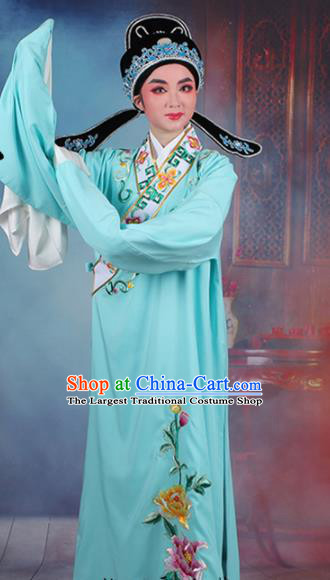Chinese Traditional Peking Opera Niche Embroidered Peony Light Blue Robe Beijing Opera Scholar Costume for Men