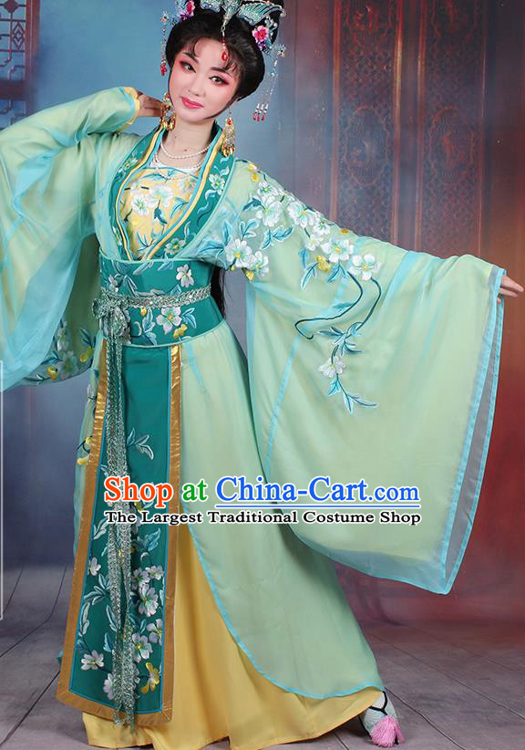 Chinese Traditional Shaoxing Opera Empress Embroidered Green Dress Beijing Opera Hua Dan Costume for Women