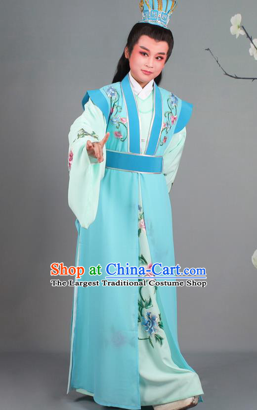 Chinese Traditional Peking Opera Niche Embroidered Blue Robe Beijing Opera Nobility Childe Costume for Men