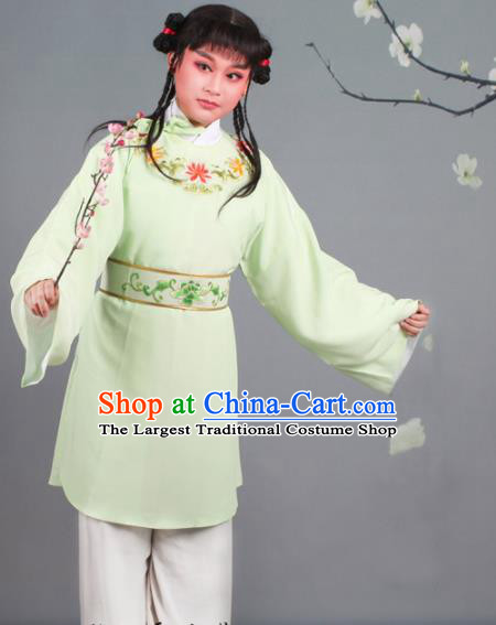 Chinese Traditional Peking Opera Livehand Green Clothing Beijing Opera Servant Costume for Men