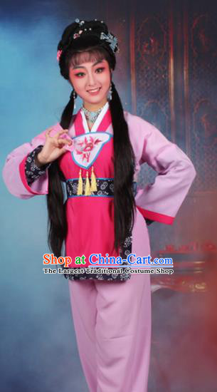 Chinese Traditional Huangmei Opera Servant Girl Embroidered Pink Dress Beijing Opera Maidservants Costume for Women