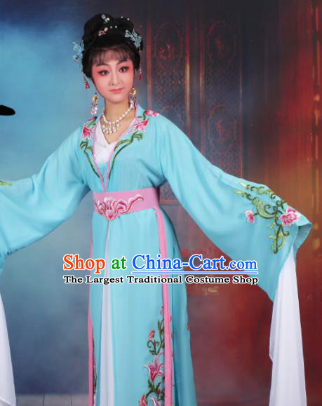 Chinese Traditional Huangmei Opera Princess Embroidered Blue Dress Beijing Opera Hua Dan Costume for Women