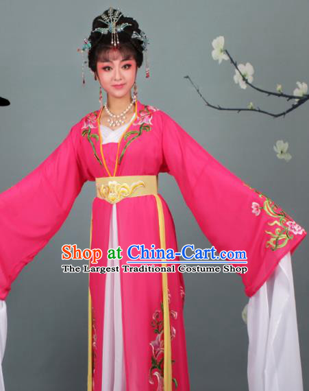 Chinese Traditional Huangmei Opera Princess Embroidered Rosy Dress Beijing Opera Hua Dan Costume for Women