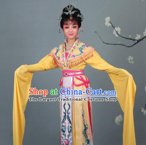 Chinese Traditional Huangmei Opera Imperial Consort Embroidered Yellow Dress Beijing Opera Court Lady Costume for Women