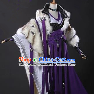 Chinese Traditional Cosplay Female Knight Embroidered Purple Dress Ancient Swordswoman Winter Costume for Women
