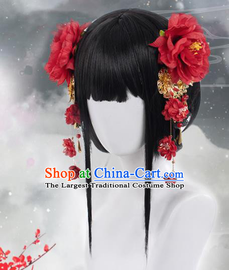 Chinese Traditional Cosplay Swordswoman Wigs Ancient Peri Wig Sheath and Hairpins Hair Accessories for Women