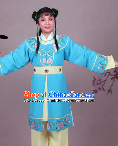Chinese Traditional Peking Opera Servant Blue Clothing Beijing Opera Livehand Costume for Men