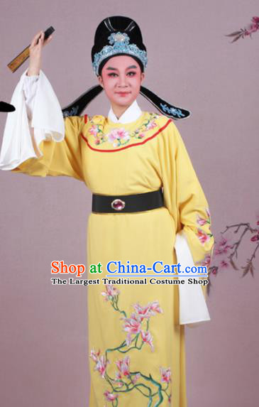 Chinese Traditional Peking Opera Nobility Childe Yellow Robe Beijing Opera Niche Embroidered Mangnolia Costume for Men