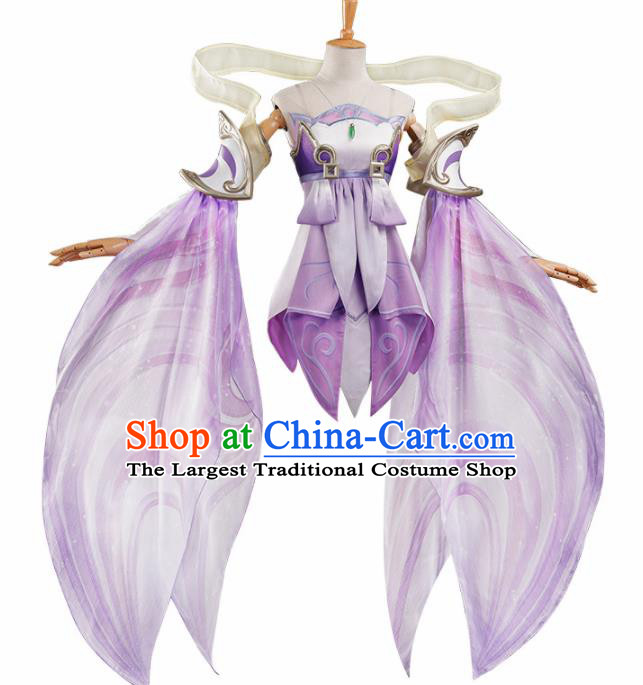 Chinese Traditional Cosplay Purple Hanfu Dress Ancient Halloween Swordswoman Costume for Women