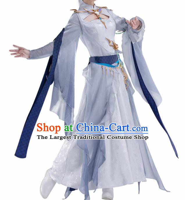 Chinese Traditional Female Knight Blue Hanfu Dress Ancient Swordswoman Costume for Women