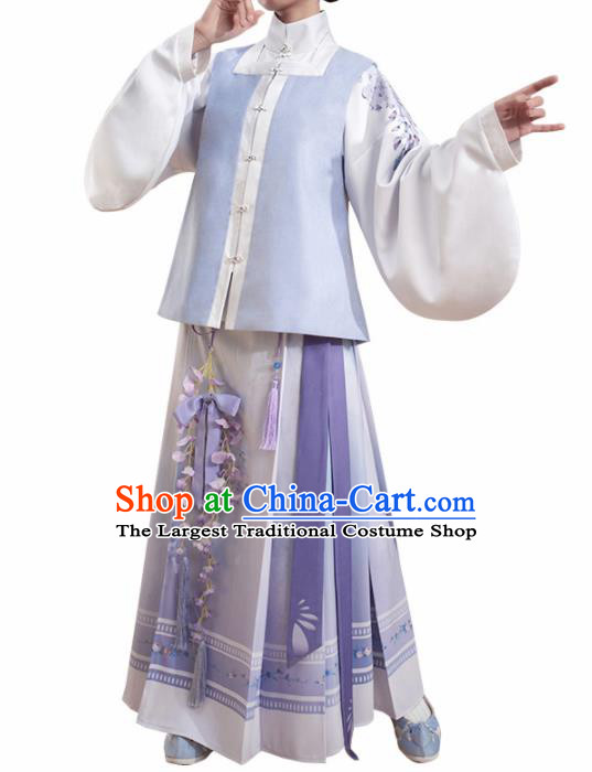 Chinese Traditional Ming Dynasty Blouse and Purple Skirt Ancient Nobility Lady Costume for Women