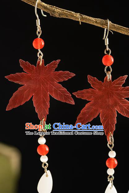 Chinese Traditional Accessories Ancient Cosplay Princess Hanfu Maple Leaf Earrings for Women