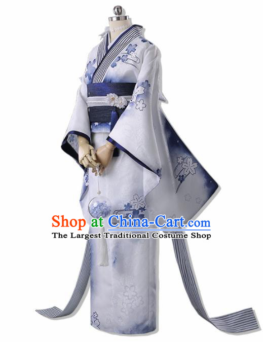Traditional Halloween Cosplay Swordswoman Costume Japanese Kimono Yukata Dress for Women