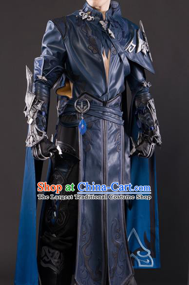 Chinese Traditional Cosplay Knight General Navy Costume Ancient Swordsman Hanfu Clothing for Men