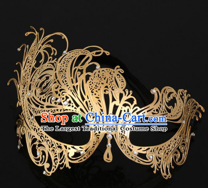 Chinese Traditional Hanfu Accessories Ancient Prince Golden Face Mask for Men