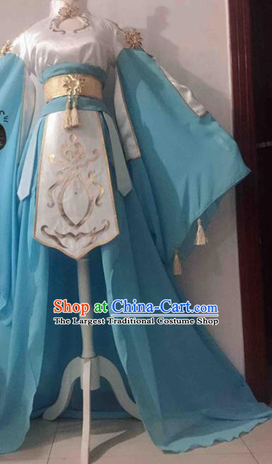 Chinese Traditional Cosplay Princess Costume Ancient Tang Dynasty Palace Lady Blue Hanfu Dress for Women