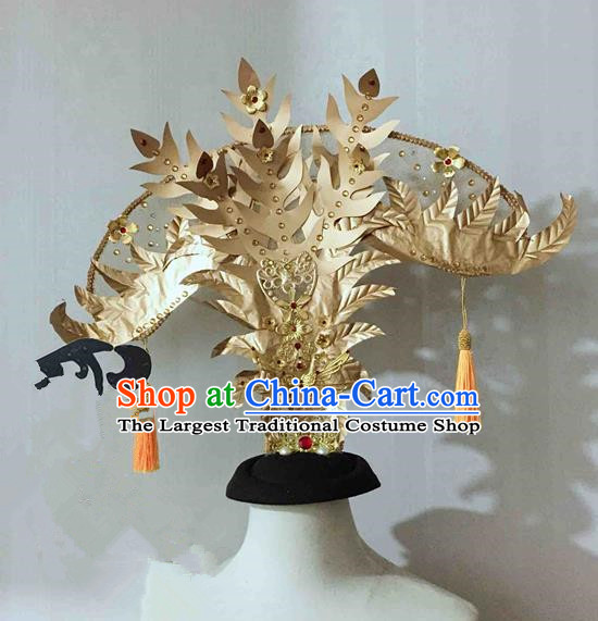 Chinese Traditional Hanfu Golden Phoenix Coronet Princess Hair Accessories Ancient Imperial Consort Hairpins for Women