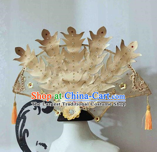 Chinese Traditional Hanfu Golden Phoenix Coronet Cosplay Ancient Imperial Consort Hair Accessories Hairpins for Women