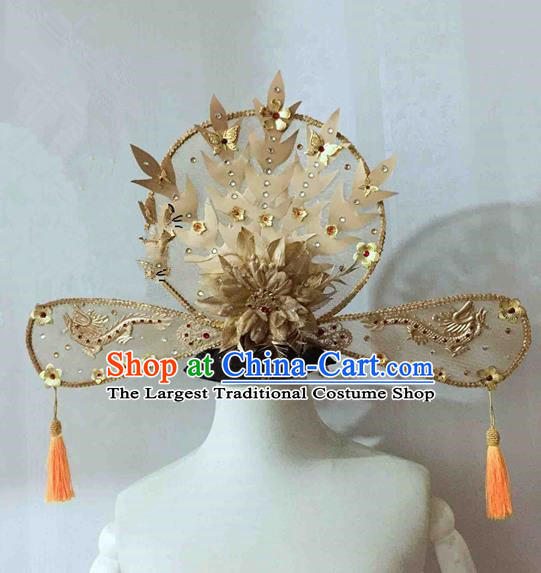 Chinese Traditional Golden Peony Phoenix Coronet Ancient Imperial Consort Hair Accessories Hairpins for Women