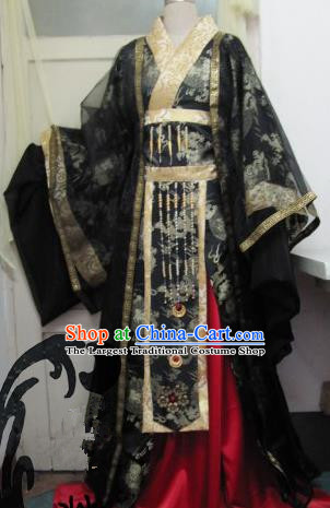Chinese Traditional Cosplay Emperor Costume Ancient Swordsman Black Hanfu Clothing for Men