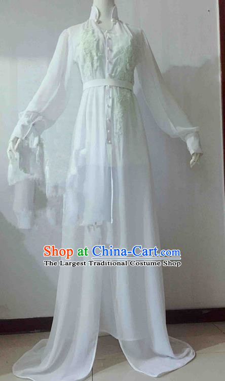 Traditional Chinese Modern Fancywork Costume Embroidered White Veil Full Dress for Women