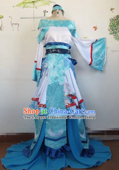 Chinese Traditional Cosplay Peri Princess Costume Ancient Flying Apsaras Blue Hanfu Dress for Women